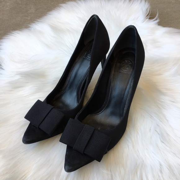 Bow Heels Pointed Toe Suede Ribbon 8